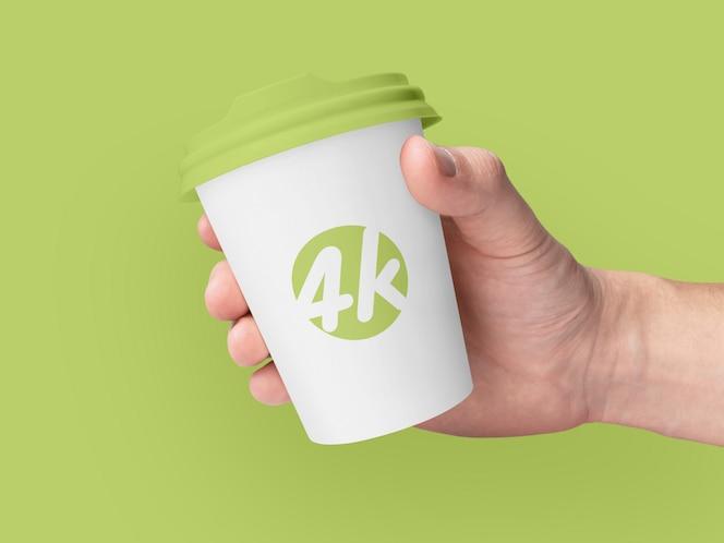 紙のコーヒーカップブランディングモックアップ