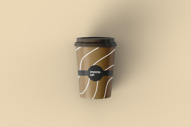 Paper coffee cup mockup design top view