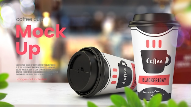 Paper coffee cup mockup on shop table