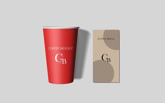 Бумага кофейная чашка макет верхний угол выстрел