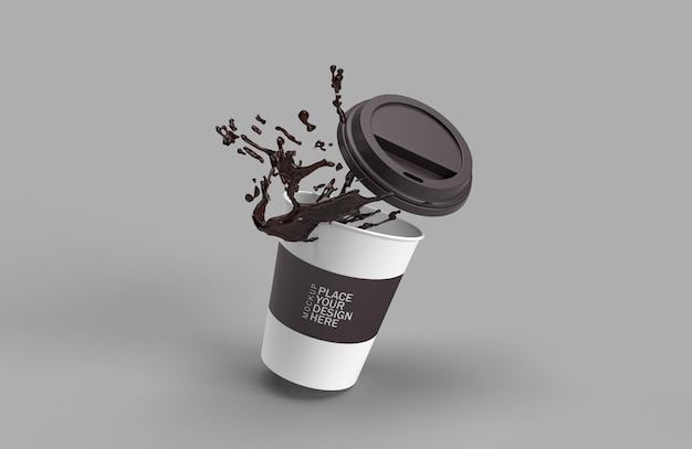Paper coffee cup splash 3d rendering isolated