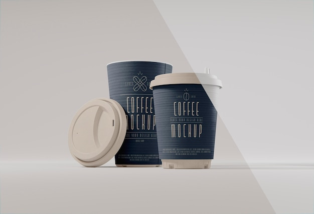 종이 커피 컵 브랜딩 배열
