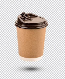 Paper coffee cups with plastic lids isolated