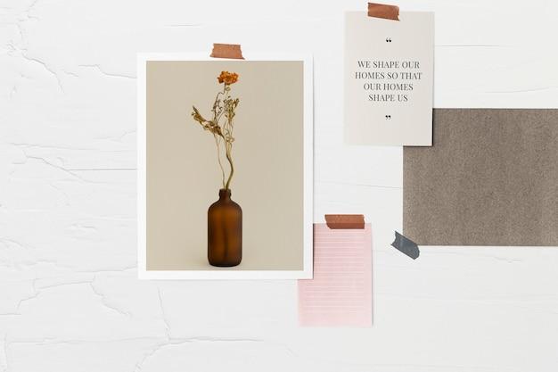 Modello di collage di carta psd sul muro
