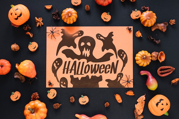 Paper cover mockup with halloween concept