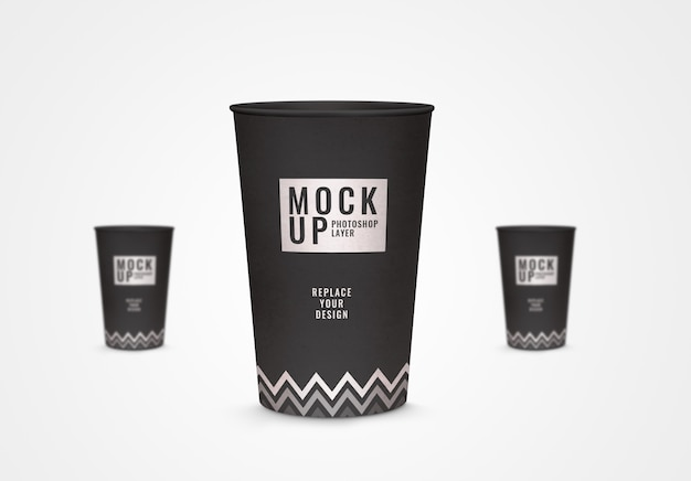 Paper craft cup mockup realistic