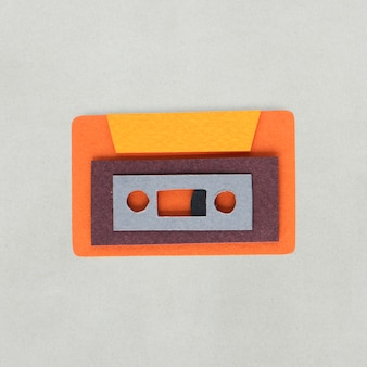 Paper craft design of tape cassette icon