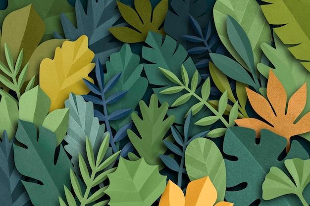 緑のトーンでペーパークラフトの葉の背景psd