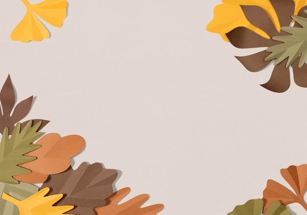Бумажная рамка из листьев psd