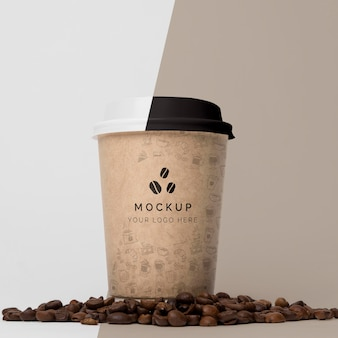 Paper cup with coffee mock up