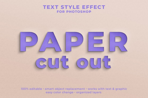 Paper cut out 3d text style effect psd template