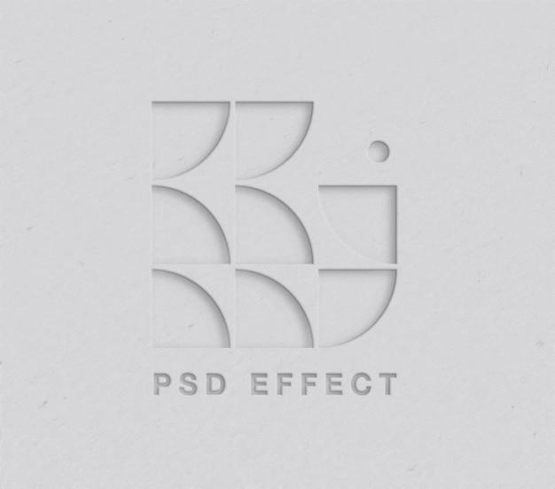 Вырезанный из бумаги мокап с эффектом логотипа