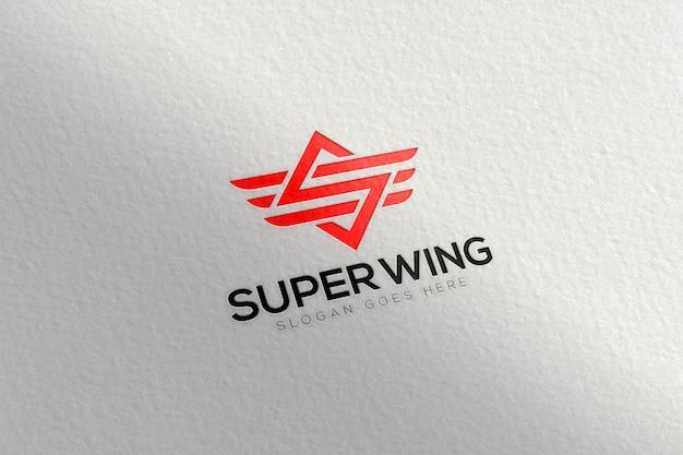 Paper embossed logo mockup template