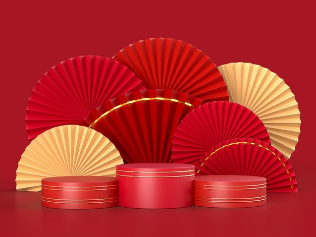 Paper fan medallion as chinese new year decoration