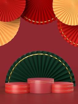 中国の旧正月の装飾としての扇子のメダリオン