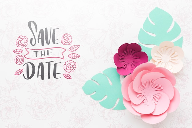 Paper flowers with wedding background mock-up