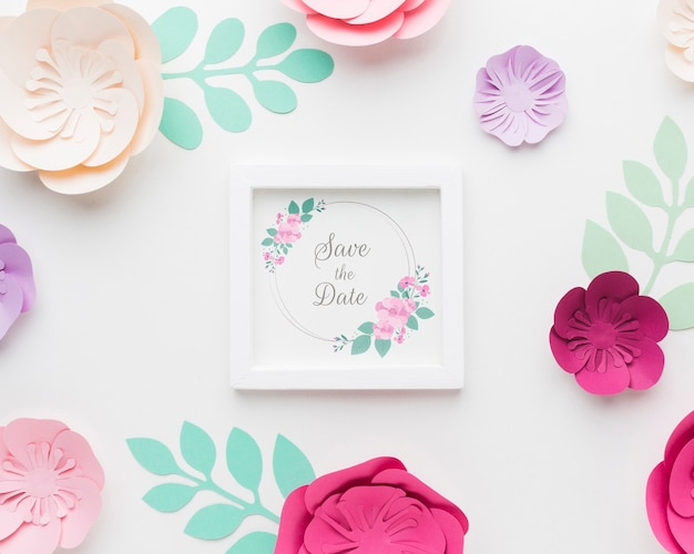 Paper flowes with wedding frame mock-up
