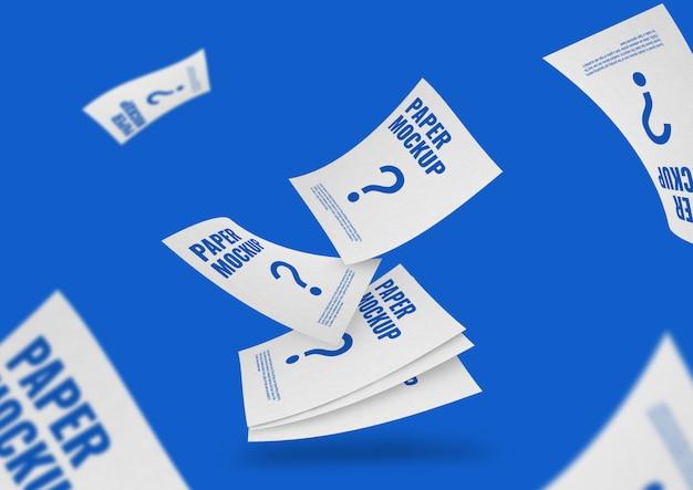 紙のチラシの文書のモックアップ