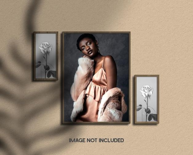 Paper frame portrait photo mockup