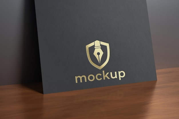 Paper on glossy wood mockup