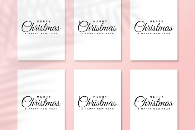 Paper greeting card mockup with christmas elements psd with palm leaves shadow