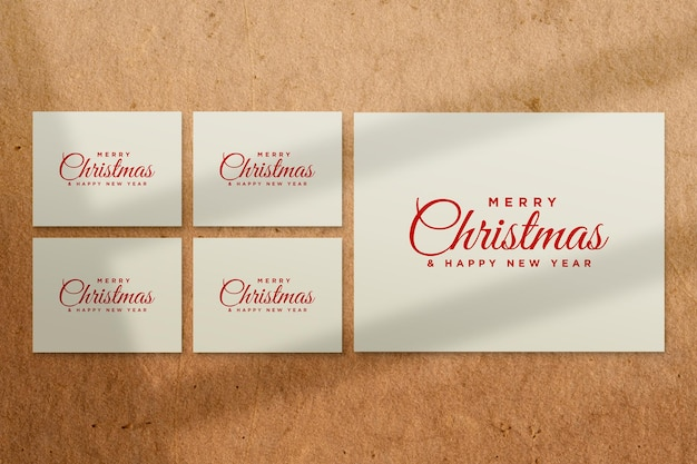 Paper greeting card mockup with christmas elements psd with shadow