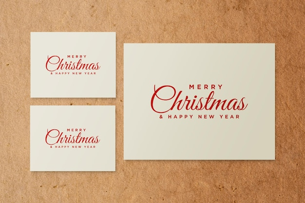 Paper greeting card mockup with christmas elements psd