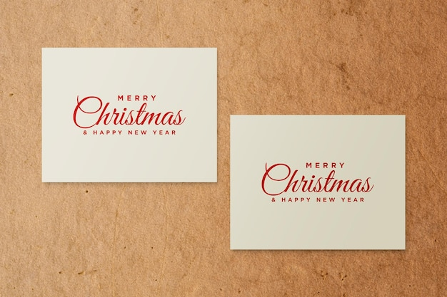Paper greeting card mockup with christmas elements