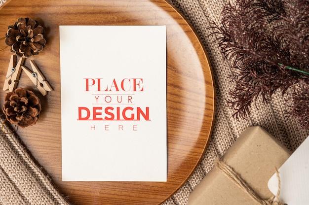 Бумажная открытка psd макет