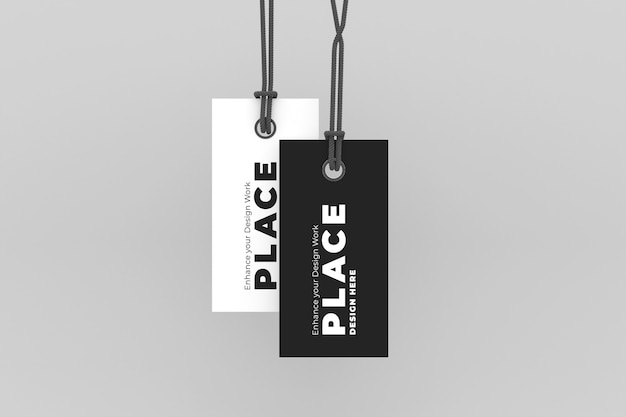 Paper hang tag label mockup set isolated