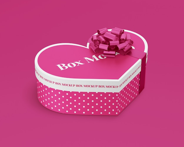Paper heart gift box with ribbon