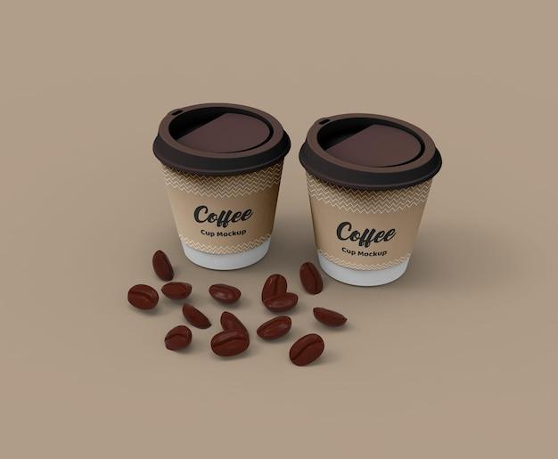 カップホルダー付きの紙製コーヒーカップモックアップ