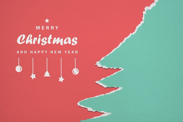 Paper merry christmas and happy new year mockup