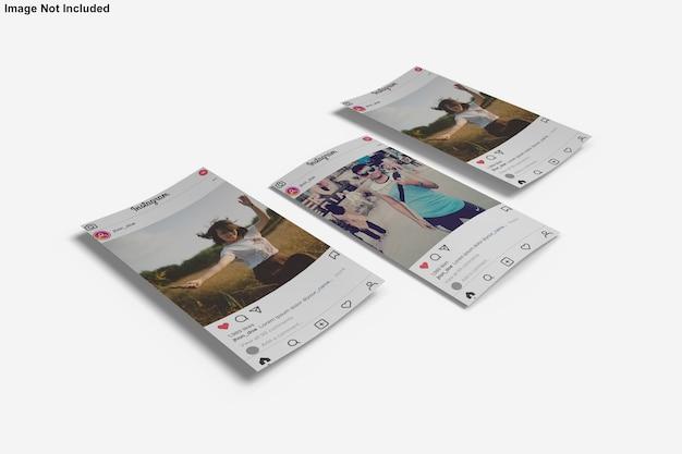 Бумажный мокап для поста в instagram