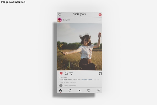 Paper mockup for instagram post