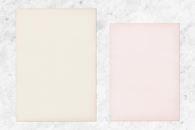 Paper mockup set on marble background