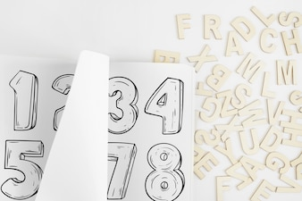 Paper mockup with alphabet