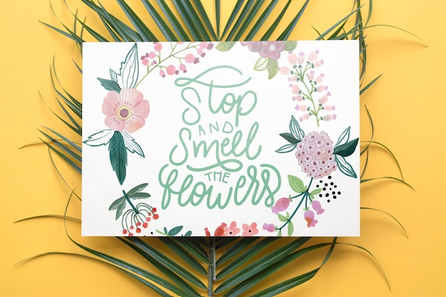Paper mockup with floral decoration