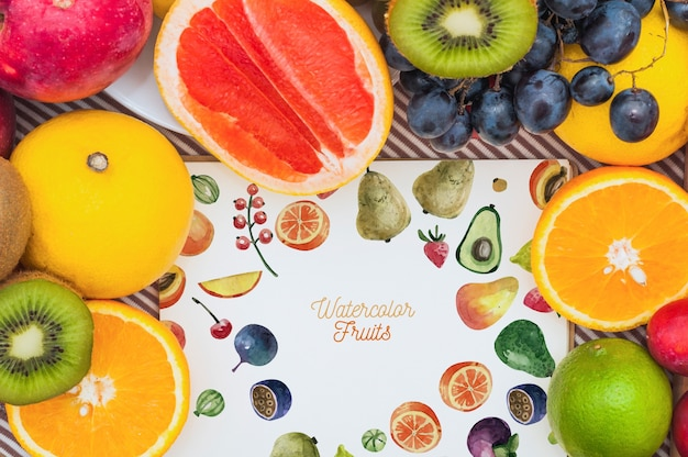 Paper mockup with fruits