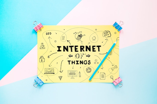 Paper mockup with internet of things concept
