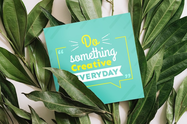Paper mockup with nature concept for quotes