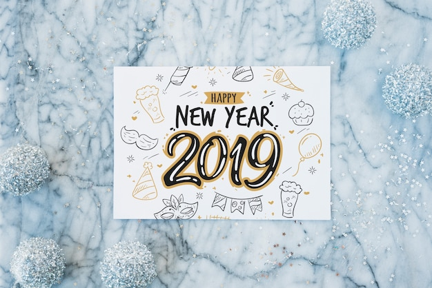 Paper mockup with new year decoration