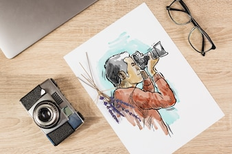 Paper mockup with photography concept