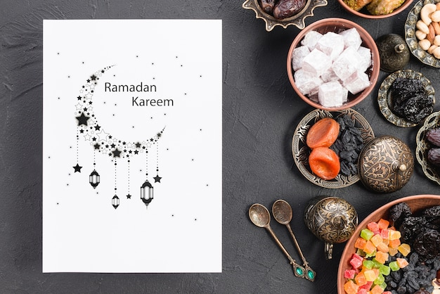 Paper mockup with ramadan concept
