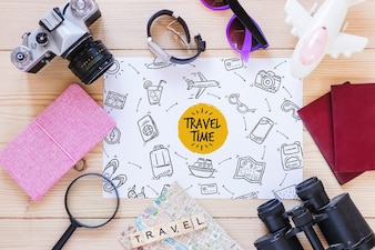 Paper mockup with travel concept