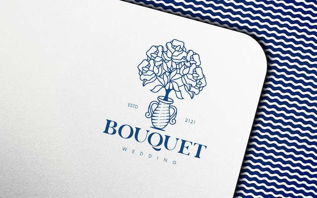 Paper on nautical fabric logo mockup
