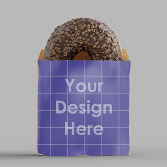Paper pack with chocolate donut mockup isolated