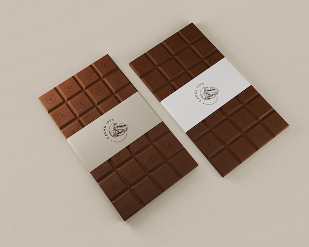 Paper packaging for chocolate tablets Free Psd
