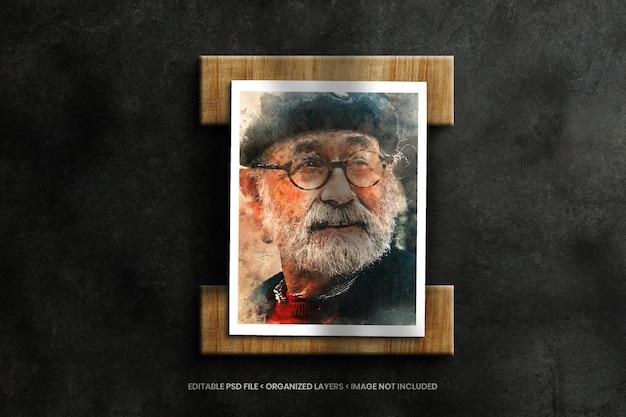 Paper photo frame mockup on wooden elements