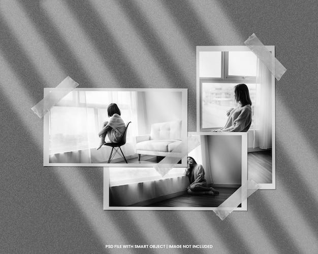 黒と白の効果テンプレートプレミアムpsdと紙フォトフレームポラロイドモックアップ